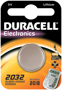 DURACELL Knoopcell Batterij CR2032