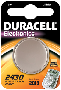 DURACELL Knoopcell Batterij CR2430