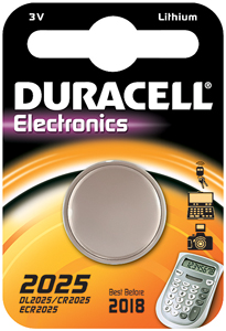 DURACELL Knoopcell Batterij CR2025
